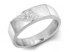 Jonc à diamants dessus carré incrusté d'une ligne de diamants
