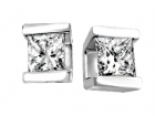 Boucles d'oreilles modernes solitaires diamant princesse 1/5 carat