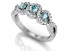 Bague topaze bleu et diamants trio enlacé