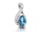Pendentif topaze bleu anneau clef de sol à diamants pour dame