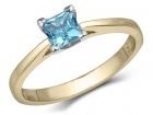 Bague solitaire classique topaze bleu synthétique taille princesse pour dame