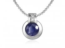 Bleu /& Blanc Saphir Goutte Collier Pendentif 14K Or Jaune Sur