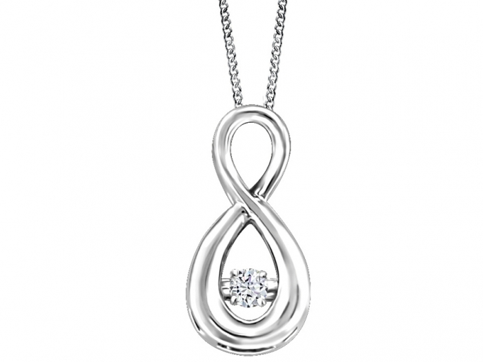 Ladies .05CT Diamond with Created Sapphire Heart Necklace Pendant 10K White Gold