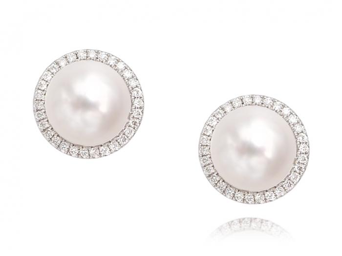 Brand New 14 Karat Or Blanc 8 mm Cultured Pearl /& Diamant Clous D/'Oreilles