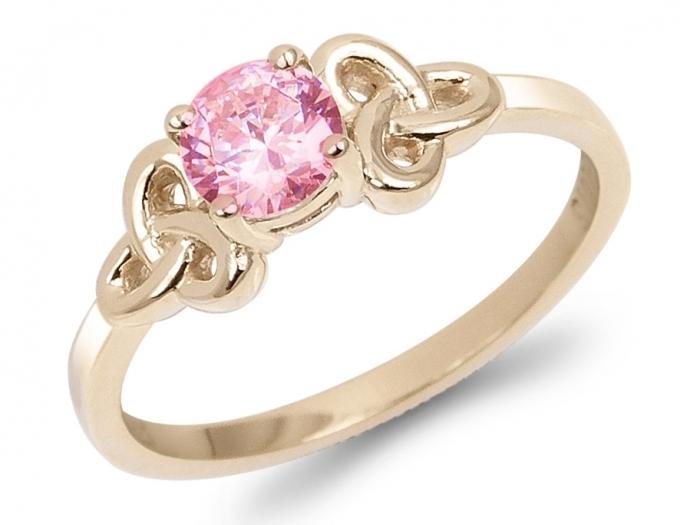 bague solitaire pierre rose