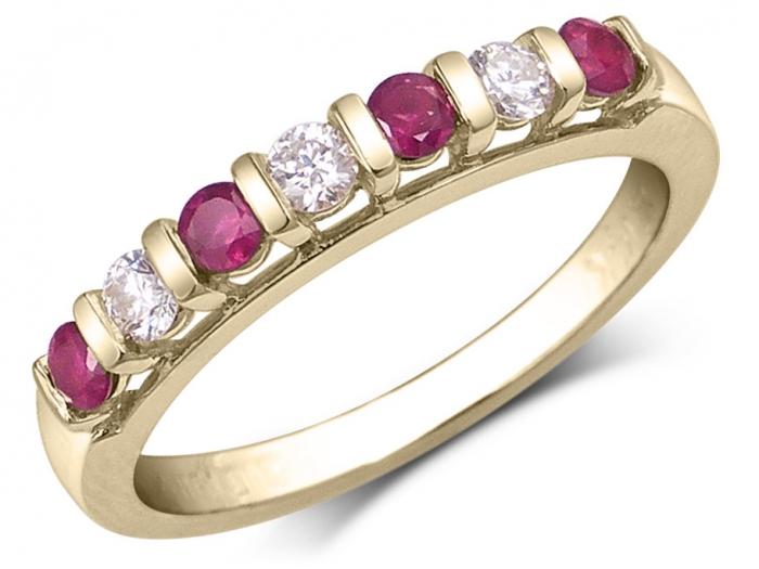"""14 K or jaune créé Ruby 7/"""" Bracelet"""