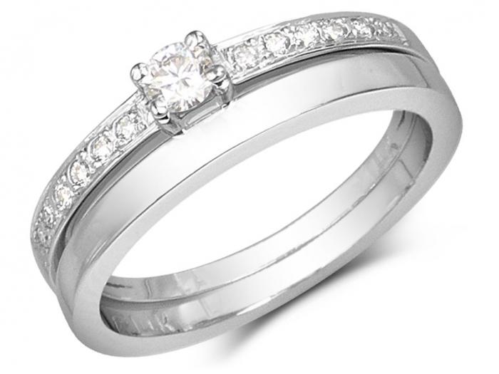 Set d'alliances Esma bague à diamants solitaire et jonc or rose 14k pour femme