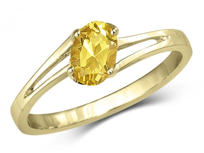 bague solitaire pierre jaune