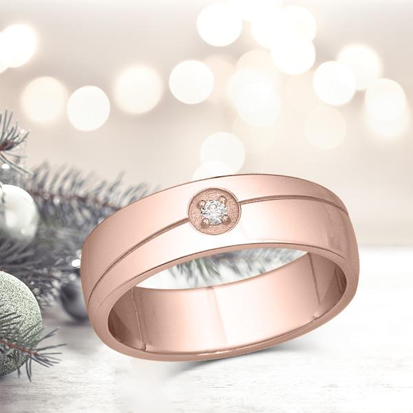 Bague diamant homme en or rose