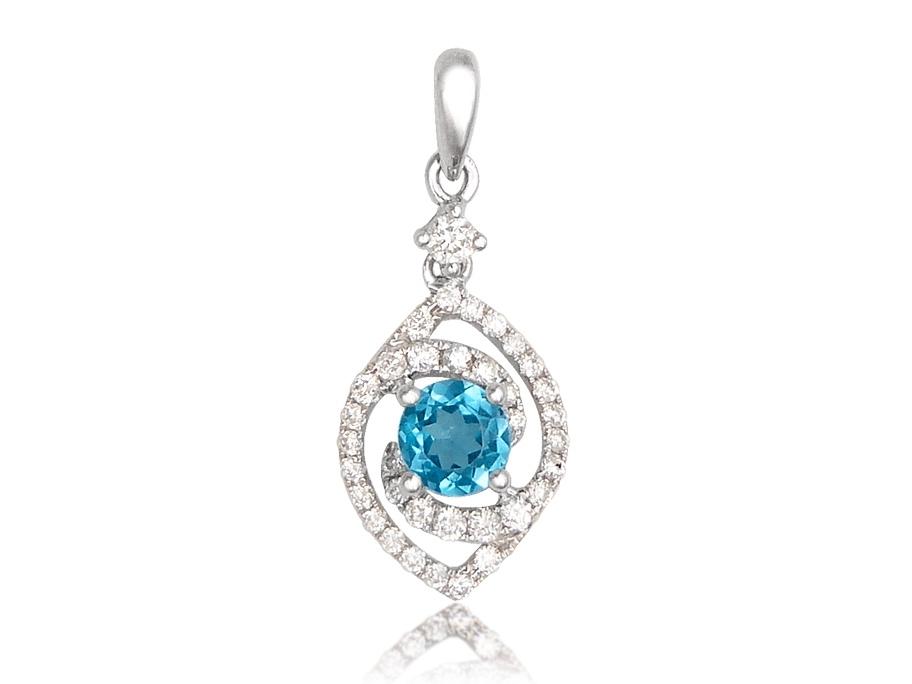 Pendentif femme topaze bleu et diamants