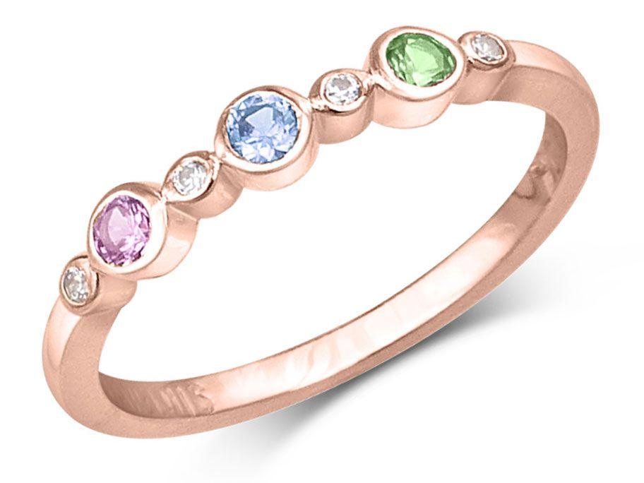 Bague ffamiliale avec 3 pierres de naissance or rose