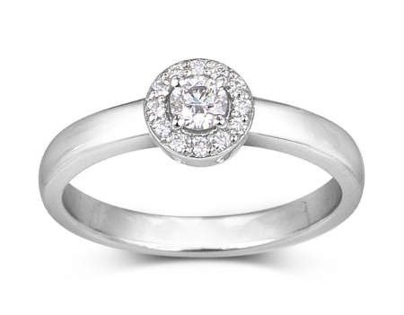 bague halo de diamant en Or