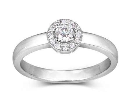 bague halo de diamant en Or
