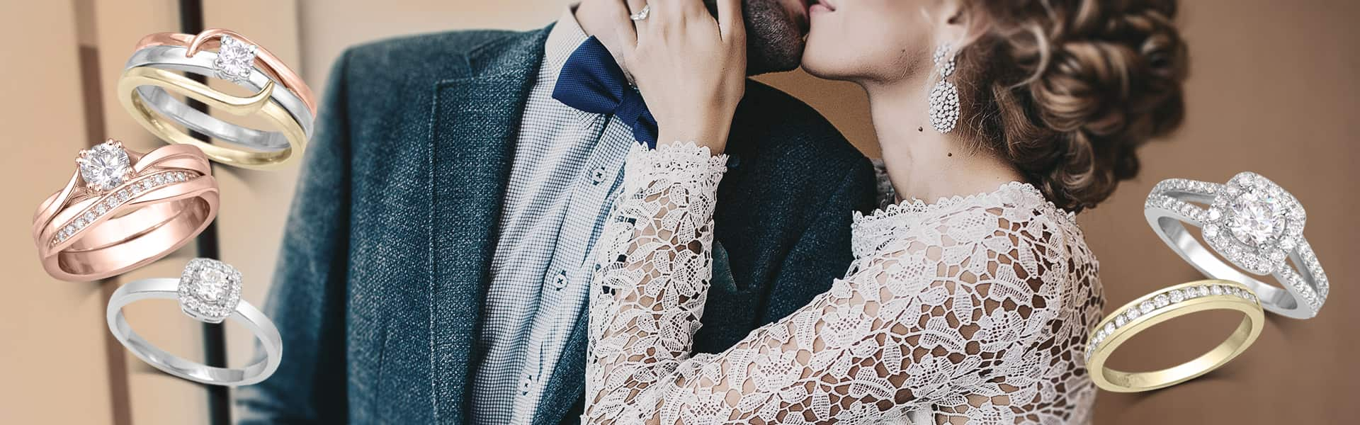 Bague mariage fiançailles avec couple de mariés